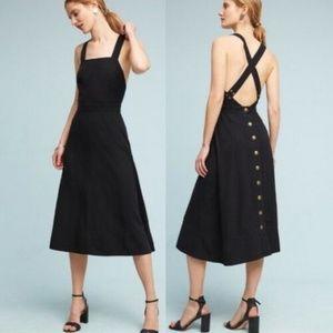 Anthro Maeve Emory Silk Apron Midi Dress